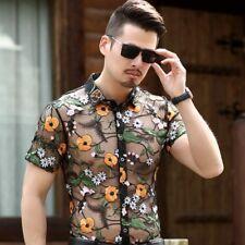 Men Velvet Dress Shirt Top Embroidered See Through Transparent Tee Formal Floral