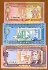 SET Turkmenistan 1;5;10 manat ND (1993) P-1-2-3, Fist Issue, Ex-USSR UNC