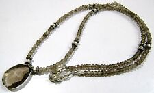 AAA Quality Natural Smoky Quartz Necklace with Briolette Smoky Beads- 18 inches.