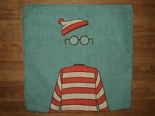"""WHERE'S WALDO ?? Turquoise Red & White Linen Look Pillow Cover 17"""" Sq NEW"""