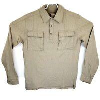 Carbon 2 Cobalt Mens Medium Beige Frayed Long Sleeve 1/4 Button Pullover Shirt