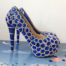 Royal Blue Diamante Crystal Bridal Prom Heels Debutante Ball Party Shoes