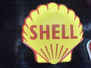 Shell Vintage petrol sign led light man cave workshop shop work home bar pool