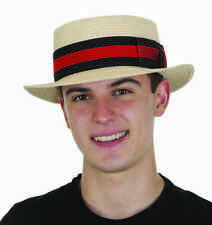 Straw Skimmer Hat Natural Barbershop Quartet Boater Gatsby