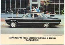 Dodge Custom 880 4 Door 6 Window 1965 original Postcard