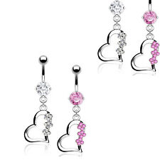 2 Pc Pink & Clear C.Z. Heart Solid G-2 Titanium Shaft Belly Navel Rings 14g 3/8""