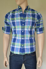 NEW Abercrombie & Fitch Bushnell Falls Shirt Blue Green Plaid Check M RRP £82