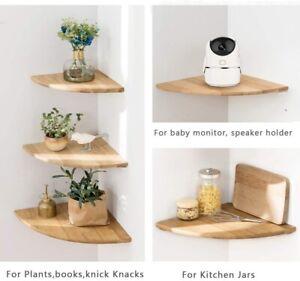 Floating Corner Shelf Shelves Wooden Wall Storage Display Shelf Unit Wall Mount