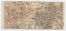 1910 ORIGINAL ANTIQUE CITY MAP OF KRONSTADT BRASSO BRASOV SINAIA ROMANIA HUNGARY
