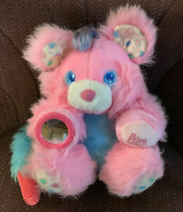 """COLLECTIBLE Rare Vintage 1987 Brush A Loves Plush 12"""" Bear Berry Pink AmToy"""