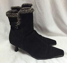 Stuart Weitzman Black Suede Faux Fur 8.5M Womens Ankle Boots Fashion Shoes Spain