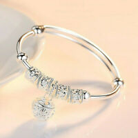 Fashion Women Jewelry 925 Silver Plated Cuff Bracelet Charm Bangle Gift Simple