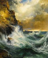 The Receding Wave Thomas Moran Seascape Print on Canvas Giclee Home Decor Small