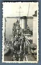 "France, Navire de guerre ""Le Bison"" Vintage silver print. Vintage ship Tirage"