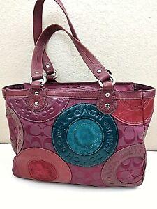 Coach Handbag Purse Purple Op-Art Leather Fabric Suede 12''