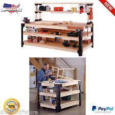 Work Bench Table Kit Garage Storage Workbench Heavy Duty Wood Steel Workshop New