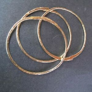 "Hammered 14K Gold Filled Bangle-Cuff Bracelets Three 7-1/2"" Handcrafted USA"