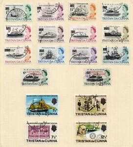 Tristan da Cunha fine used 1971 surcharged definitives and Shackleton