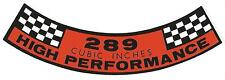 Ford Falcon XR-XT & GT 289 HP air cleaner decal. NEW.