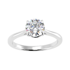 Certified 1 Carat Round Diamond Solitaire Engagement Ring In Platinum Size H - R