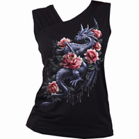 Spiral Direct DRAGON ROSE Women's Gathered Shoulder Slant Vest, Top, Clothing