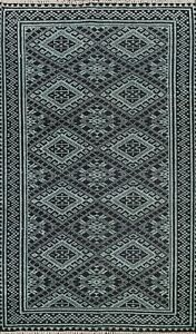 Geometric Abstract Green/ Black Oriental Area Rug Wool/ Silk Hand-knotted 5x8 ft