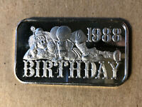 1988 Madison Mint Birthday 1 Ounce .999 Silver Art Bar