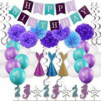Happy Birthday Banner with Pompom Balls Ballon Mermaid Hat Party Cupcake Toppers