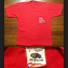 Vintage 1980s 80s Pocket Tee T-Shirt Red M/L Faded Fruit Of The Loom Rojo Racing