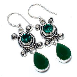 "Emerald & Emerald Quartz 925 Sterling Silver Bali Earring 1.99"" S1970"