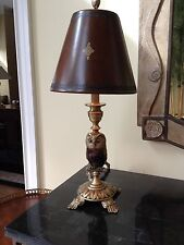 Maitland Smith Antique Finished Cast Brass Penshell Owl Table Lamp Leather Shade