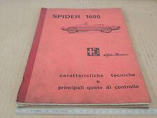 MANUALE ORIGINALE DATI 1966 ALFA ROMEO GIULIA SPIDER 1600