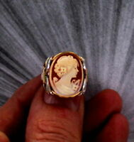 VINTAGE ANTIQUE SHELL CAMEO RING STERLING AND GOLD  SIZE 5 TO 15 WIRE WRAPPED
