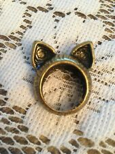 CAT EARS Gold Tone Ring Size 6 1/4 - Solid Band - Fashion Statement!