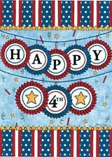 """HAPPY 4TH OF JULY PATRIOTIC LARGE HOUSE FLAG  28""""  X 40"""""""