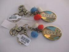 Anthropologie LOVE Key Chain Pom Pom  BRASS Rings Hook NWT $20 Each Set of 2