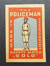 Cinderella Poster Stamp Policeman Safety Match *Solo* Made Czechoslovakia (7607)