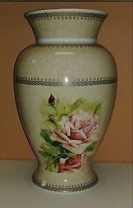 """Victorian Trading Co Pink Morning Rose Porcelain Vase 12"""" BU07"""