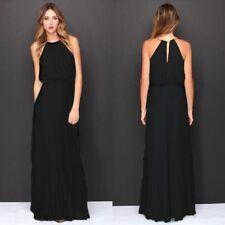 UK Womens Evening Party Dress Halter Sleeveless Ballgown Prom Maxi Long Dresses