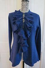 Magaschoni Blue Cashmere Ruffle-Front Cardigan Blue Medium (runs small) $500