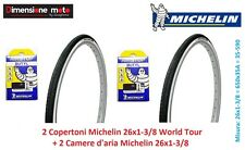 2 Copertoni + 2 Camere d'aria Michelin 26x1-3/8 World Tour per Bici 26 City Bike