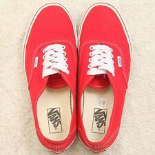 Vans Classic Authentic Red White Men's Lace Up Shoes Size Ten 1/2 10.5 Canvas