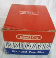 Vintage Steel City Stainless Steel Paper Clips Box Advertising