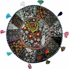 """18"""" Round Floor Cushion Cover Cotton Ethnic Patchwork Embroidered Decor Lounge"""