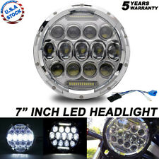 Chrome 7 inch Round LED Headlight DRL Hi-lo fit for Harley Davidson Motorcycle