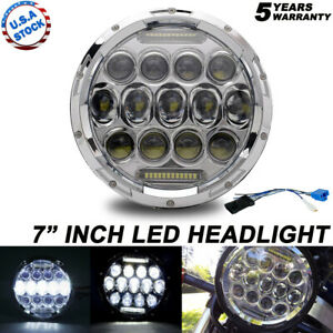 Chrome 7 inch Round LED Headlight DRL H4/9003 Fit For Harley Davidson Motorcycle