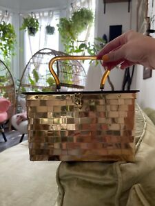 Vintage Dorset Rex Saks Fifth Avenue Woven Brass Purse with Pink Satin Lining