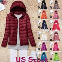Women Winter Down Jacket Warm Puffer Padded Coat Hoodie Thin Ultralight Packable