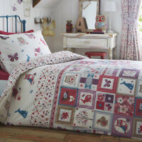 Kids Single Duvet Cover Set Nature Woodland Patchwork Floral Reversible Bedding