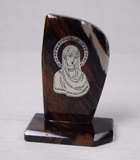 Vintage Collectible Natural Vulcano OBSIDIAN Icon Silver Inlay of Virgin Mary